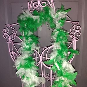 Feather Boa White Green 70 inches